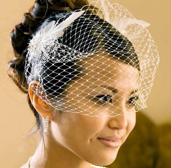 bridal cage veil feather accent clip elegant bridal hair