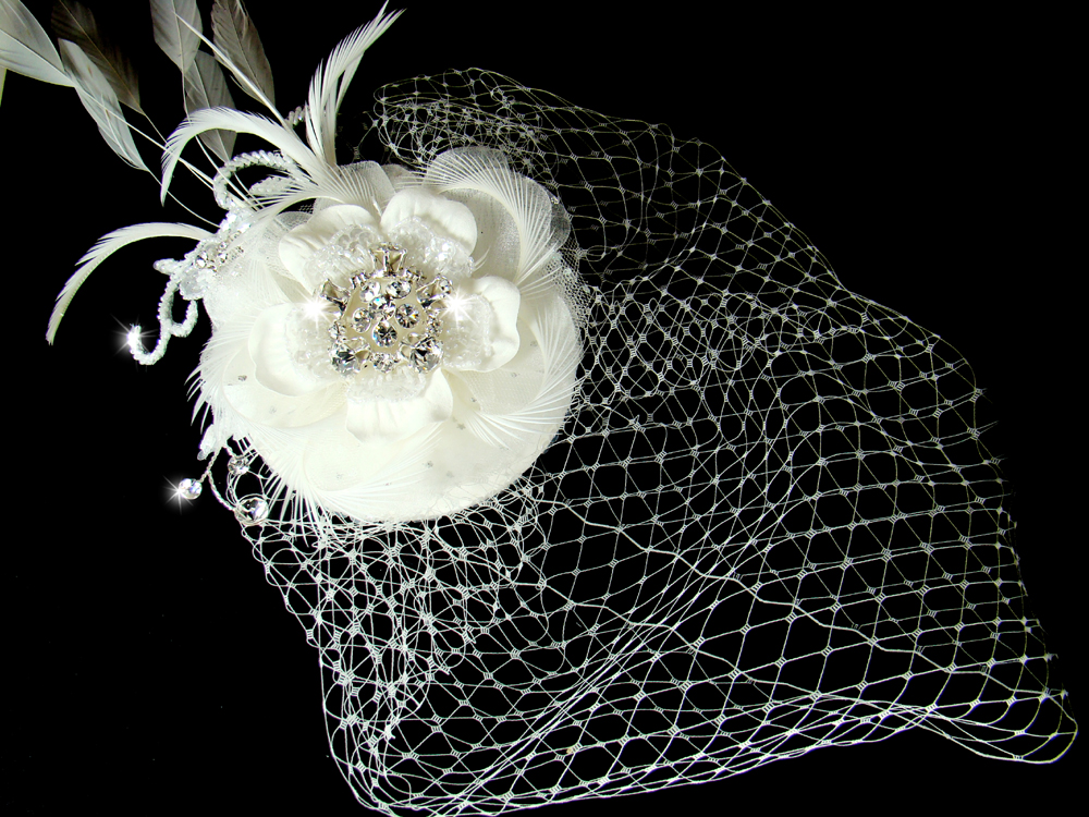bridal hat and birdcage veil clip elegant bridal hair