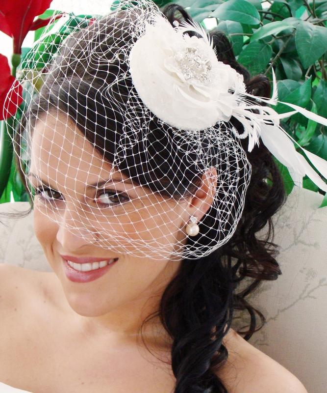 cb1470dcf Bridal Hat and Birdcage Veil Clip
