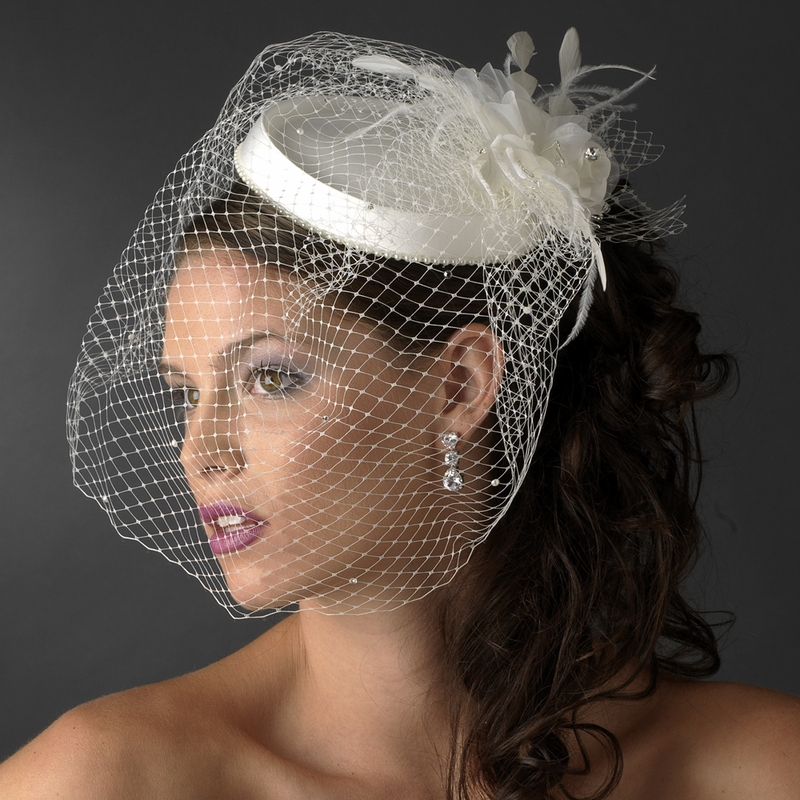 Bridal Hat Comb With Bird Cage Veil