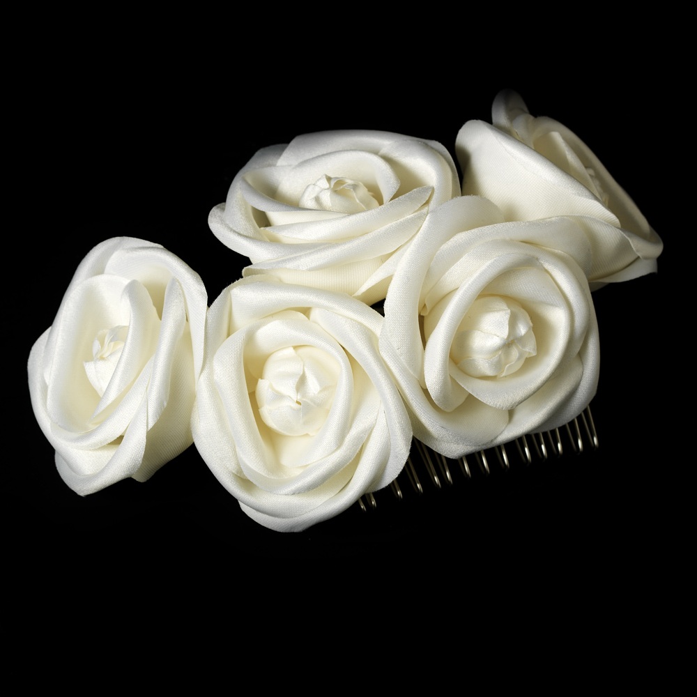 Light Ivory Floral Comb Wedding Hair Accessories Bridal Comb