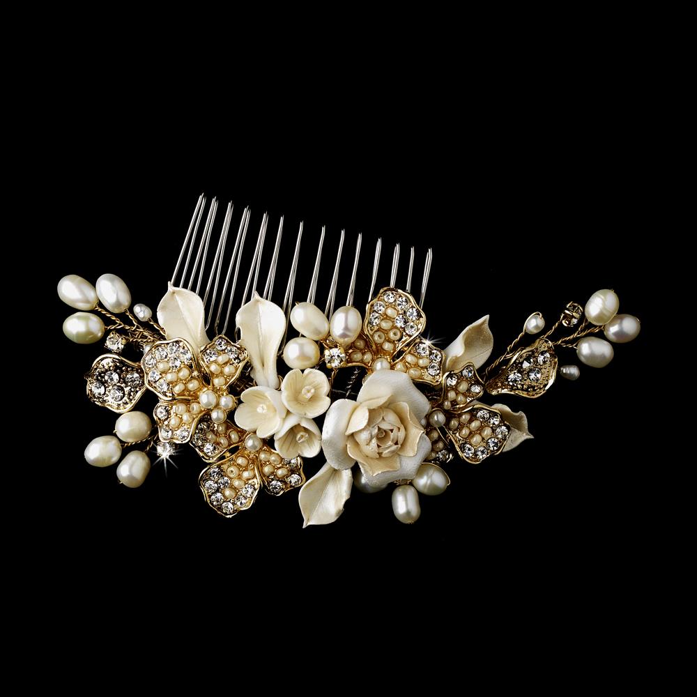 Ivory Flower Bridal Headpiece Comb Elegant Bridal Hair