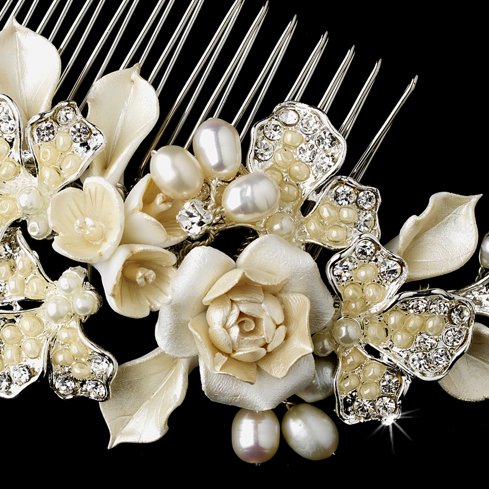 Flower Wedding Headpieces: Ivory Flower Bridal Headpiece Comb
