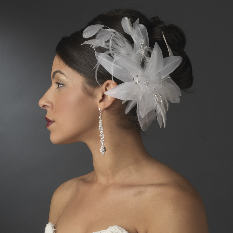 Flower Wedding Headpieces: Lovely Bridal Floral Feather Headpiece