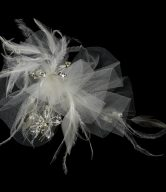 Luxurious Tulle & Feather Bridal Comb