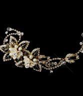 Pearl & Rhinestone Floral Vine Bridal Headpiece Clip