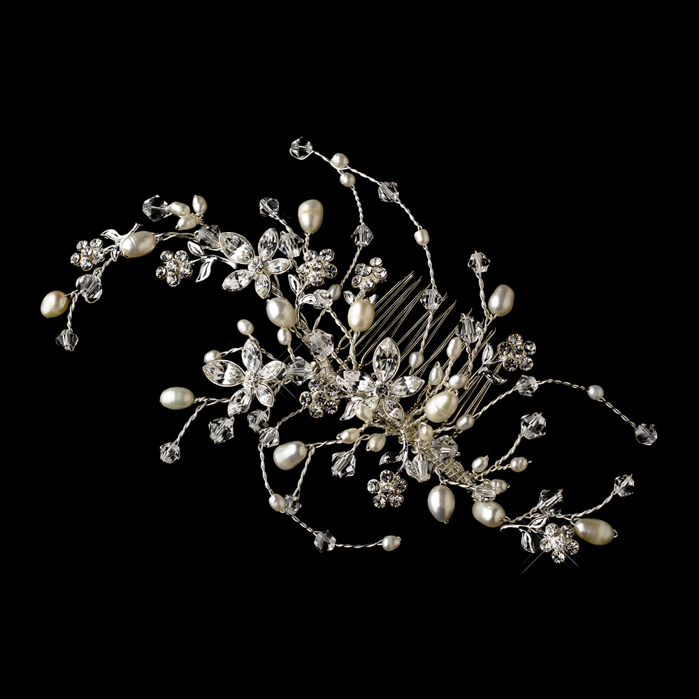 ... Wedding Collection Rhinestone & Pearl Floral Vine Bridal Hair Comb