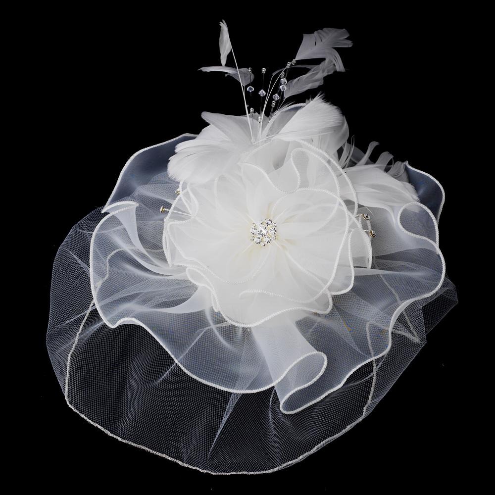 Organza Flower Fascinator Hair Clips Elegant Bridal Hair Accessories