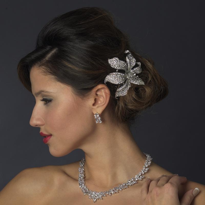 Silver Clear Flower Hair Clips