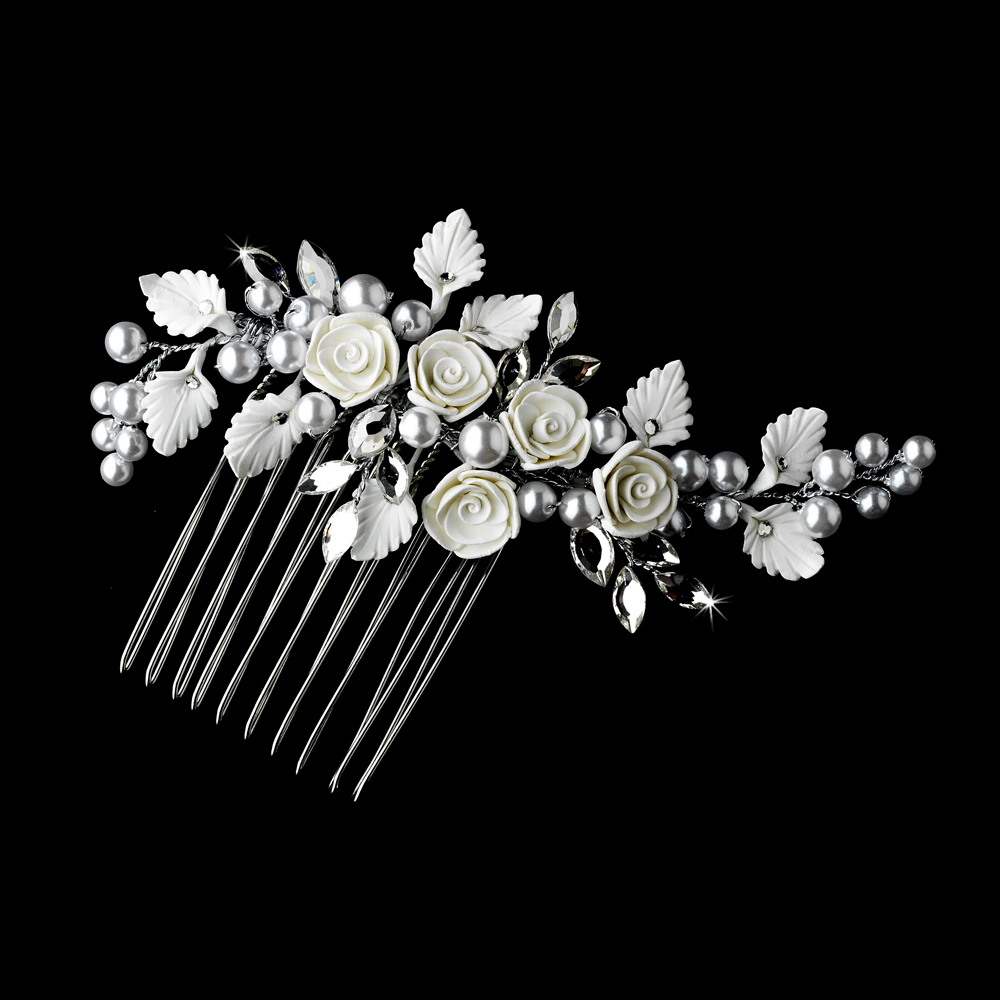... Shop By Theme Beach Wedding Theme Silver Pearl & Flower Bridal Comb