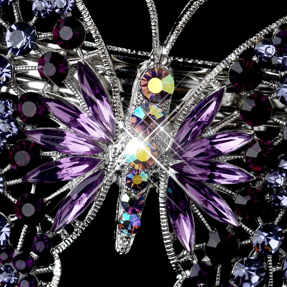 Silver Rhinestone Bridal Butterfly Barrettes Elegant