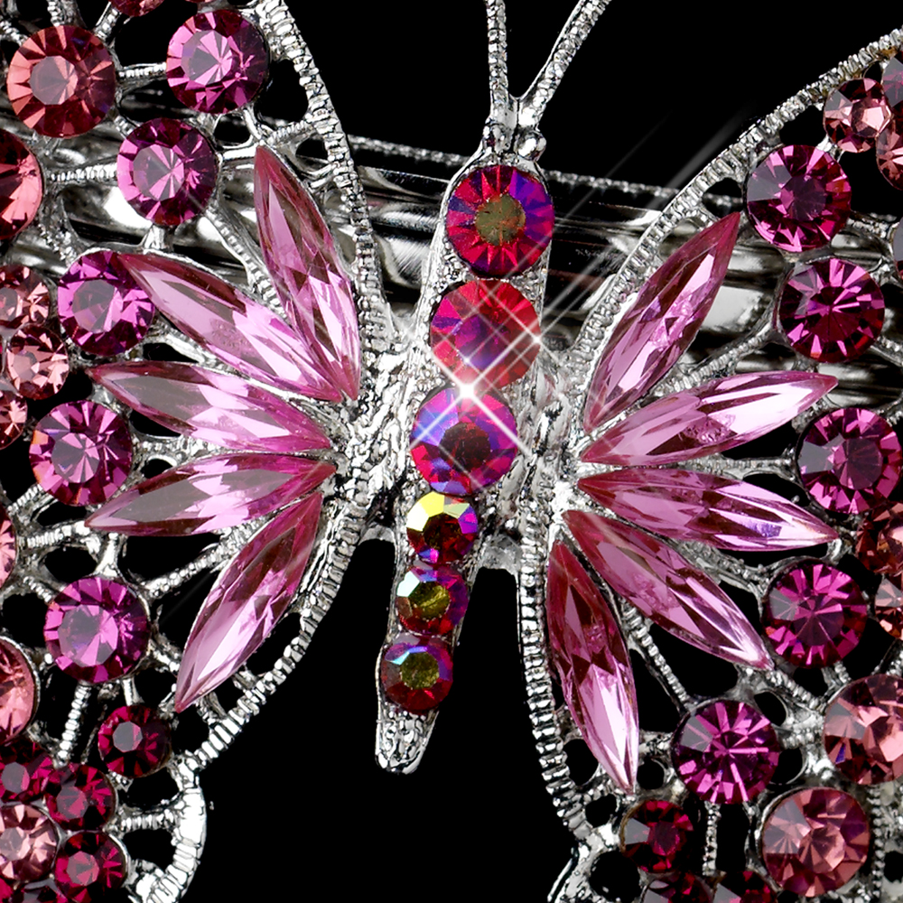 silver rhinestone bridal butterfly barrettes elegant bridal hair accessories. Black Bedroom Furniture Sets. Home Design Ideas