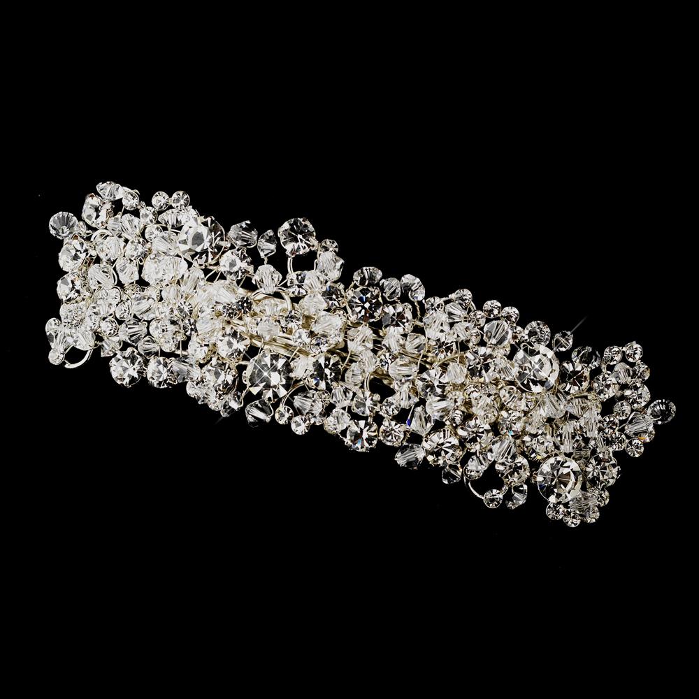 Silver Swarovski Crystal Amp Rhinestone Barrette Elegant