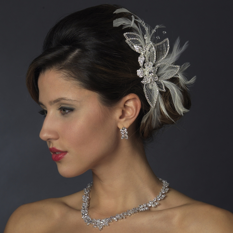 Silver U0026 White Feather Crystal Rhinestone Bridal Hair Piece - Elegant Bridal Hair Accessories