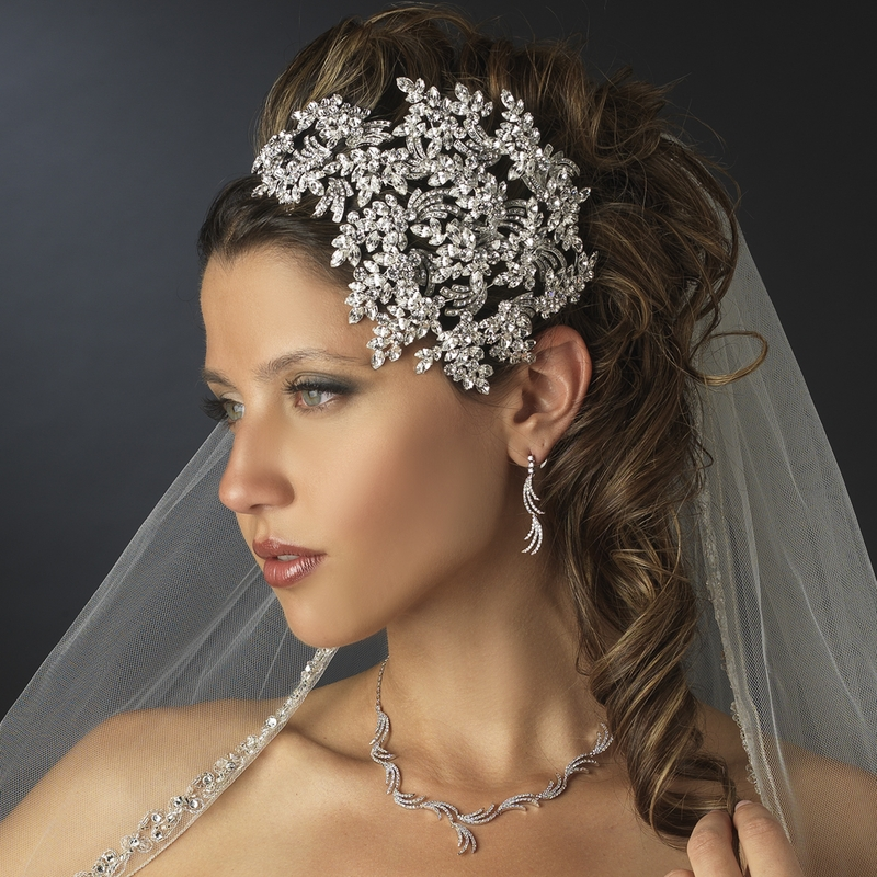 Vintage Couture SideAccented Crystal Bridal Headband Headpiece