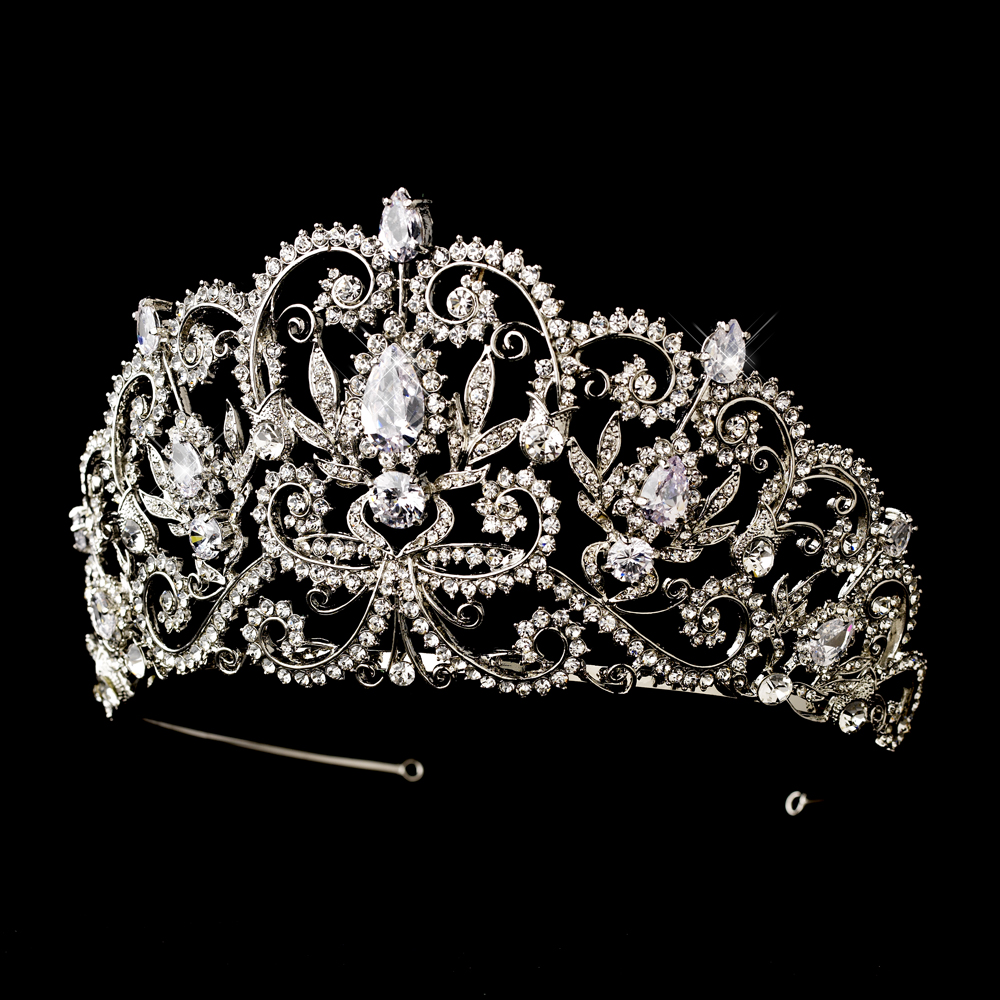 Antique Silver Crystal Royal Princess Tiara Elegant