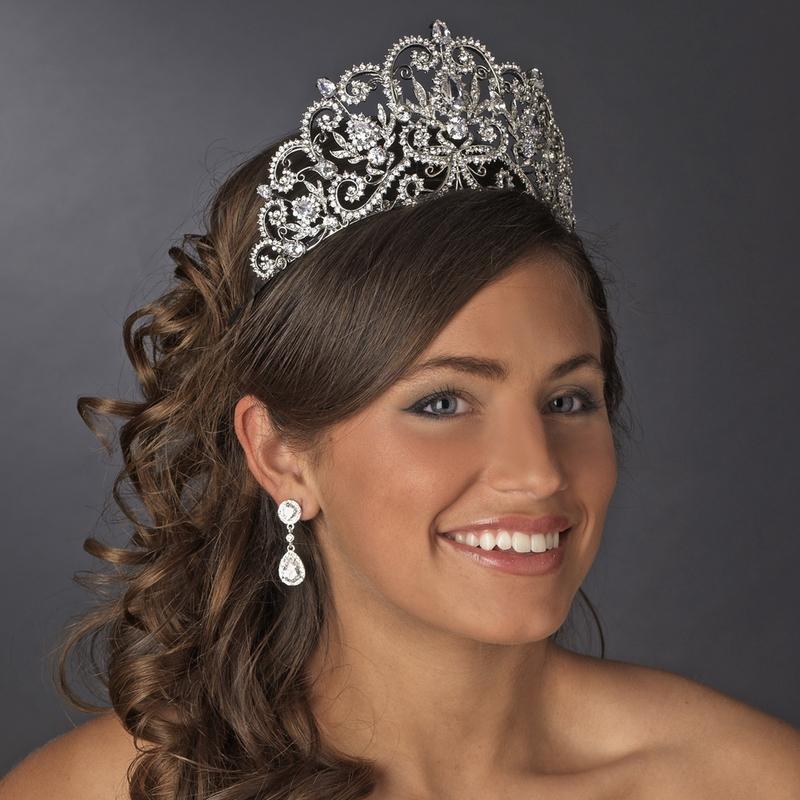 quinceanera hairstyles with tiara : ... Silver Crystal Royal Princess Tiara - Elegant Bridal Hair Accessories