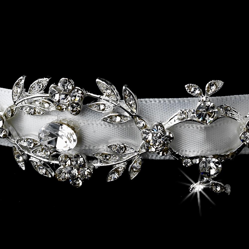 Antique Silver Rhinestone Ribbon Headband Elegant Bridal