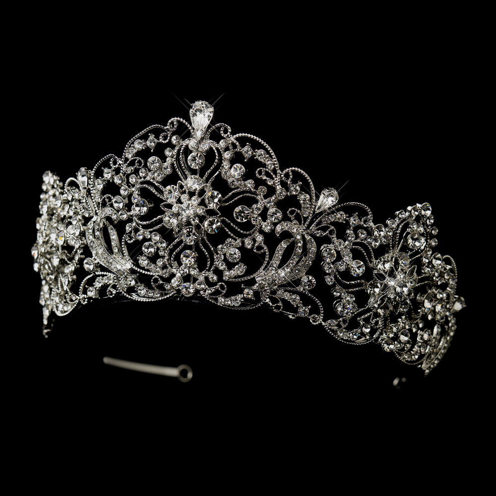 Antique Silver Rhodium Royal Bridal Tiara Elegant Bridal