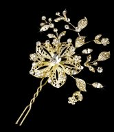 Beautiful Rhinestone Floral Wedding Hair Pin