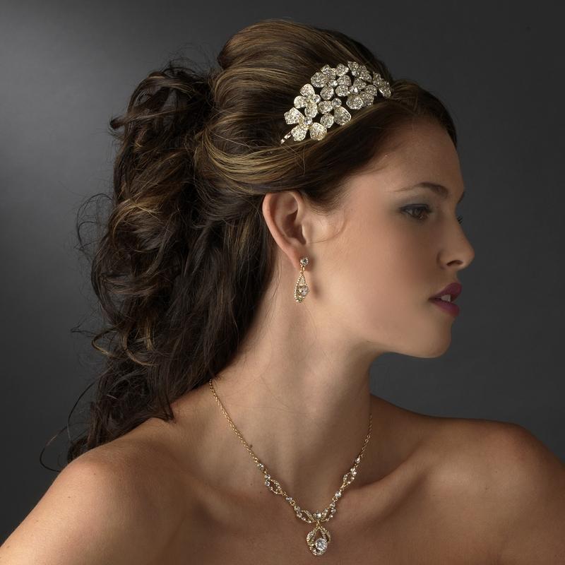 Bold Rhinestone Flower Headpiece - Elegant Bridal Hair