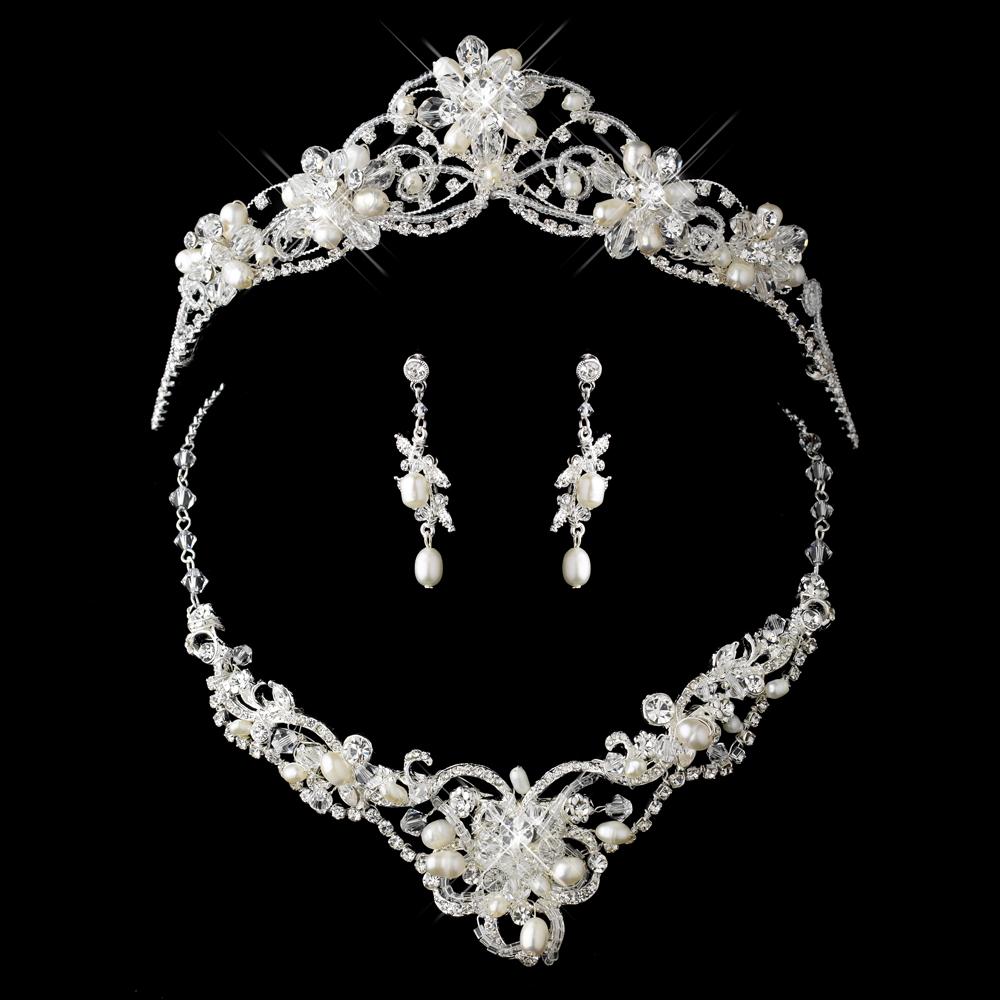 Crystal Couture Pearl Wedding Tiara Necklace Set Elegant