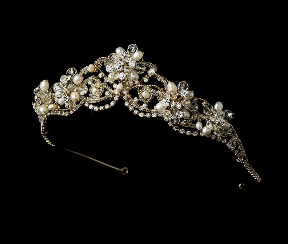 Crystal Couture Pearl Wedding Tiara