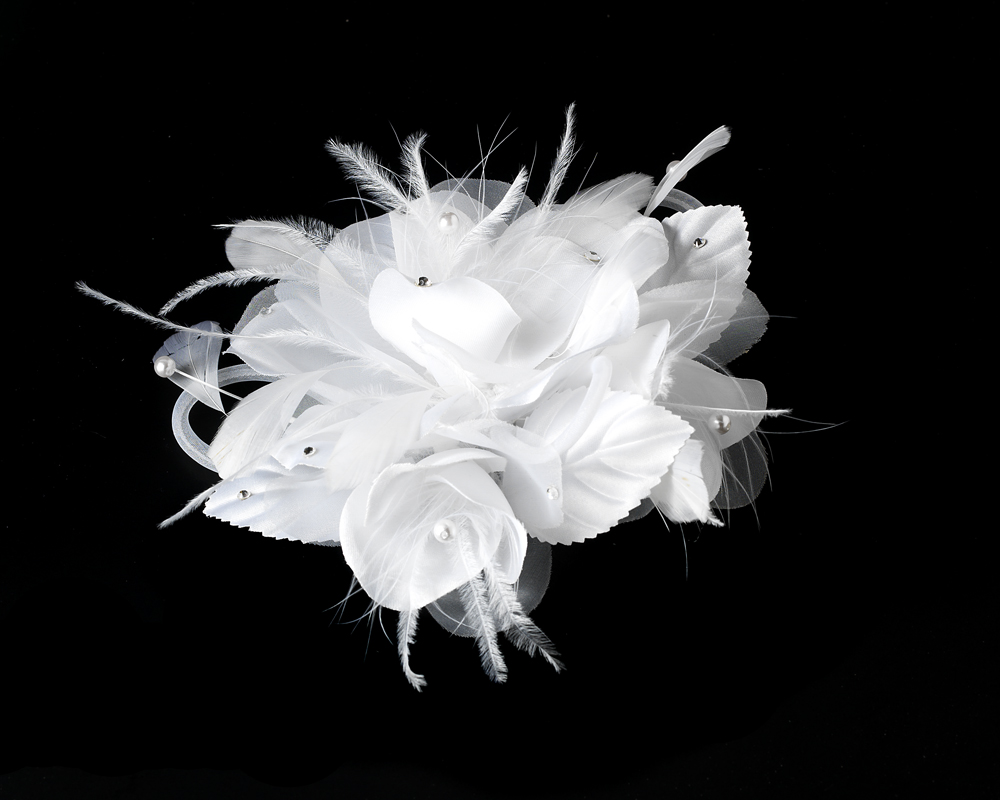 Crystal Feather Flower Hair Clip Elegant Bridal Hair Accessories