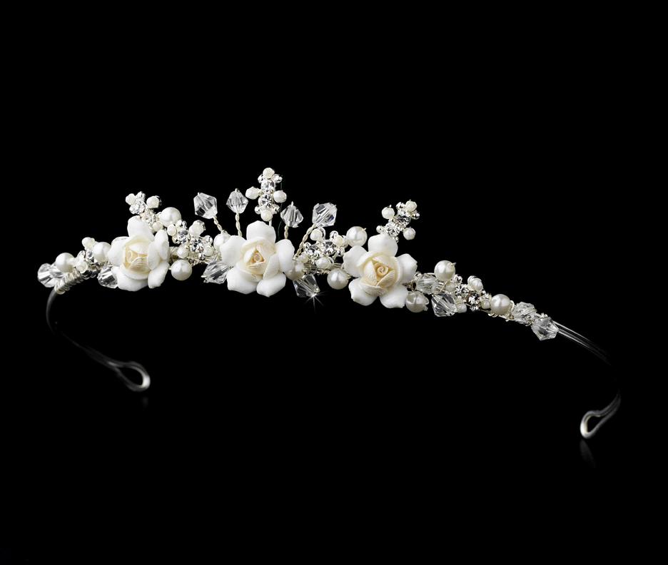 Crystal Amp Ivory Rum Flowergirl Tiara Elegant Bridal Hair