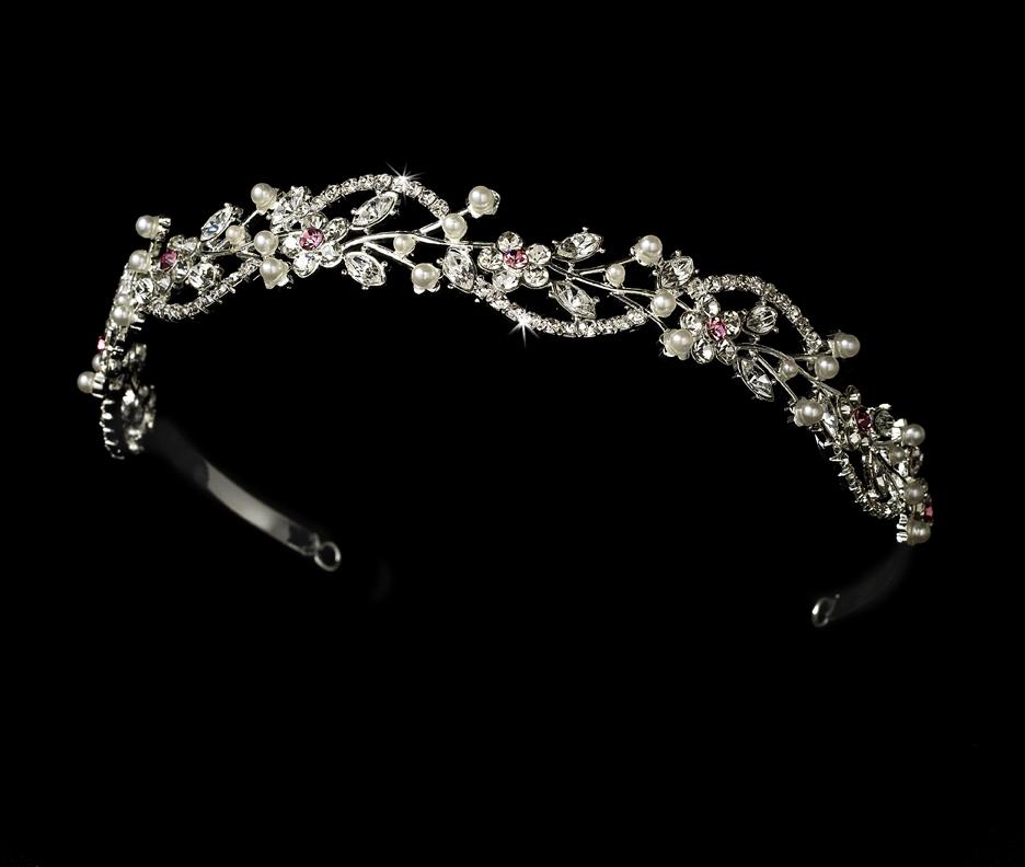 bf36bda86a76 Crystal   Pearl Floral Tiara Headband - Elegant Bridal Hair Accessories