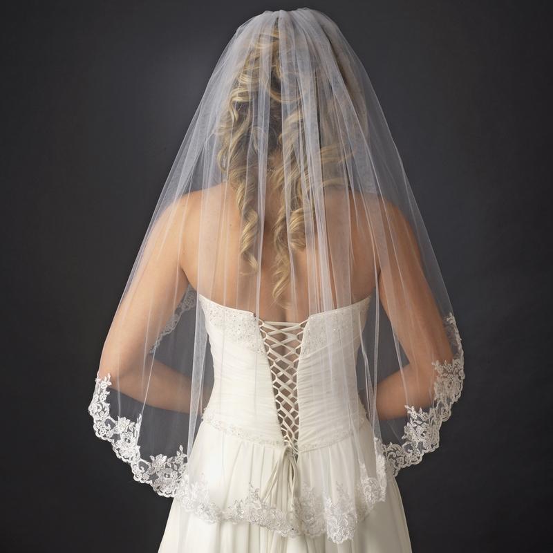 Exquisite Wedding Head Pieces: Exquisite Mantilla Style Bridal Veil