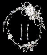 Floral Swarovski Matching Tiara & Jewelry Set