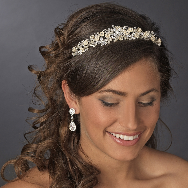 Wedding Hairstyles With Hair Jewelry: Floral Champagne Pearl Rhinestone Headpiece