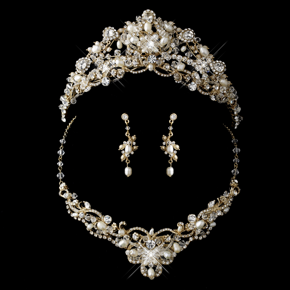 Swarovski freshwater pearl tiara and jewelry set for Decor jewelry