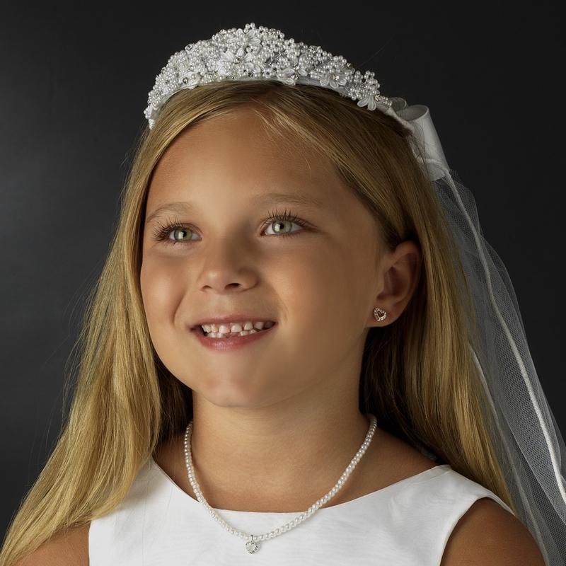 Wedding Hairstyles With Headband And Veil: Pearl & Rhinestone Headband Veil