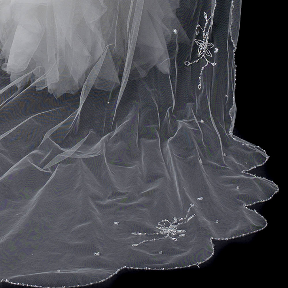 Princess Double Layer Beaded Cathedral Length Veil