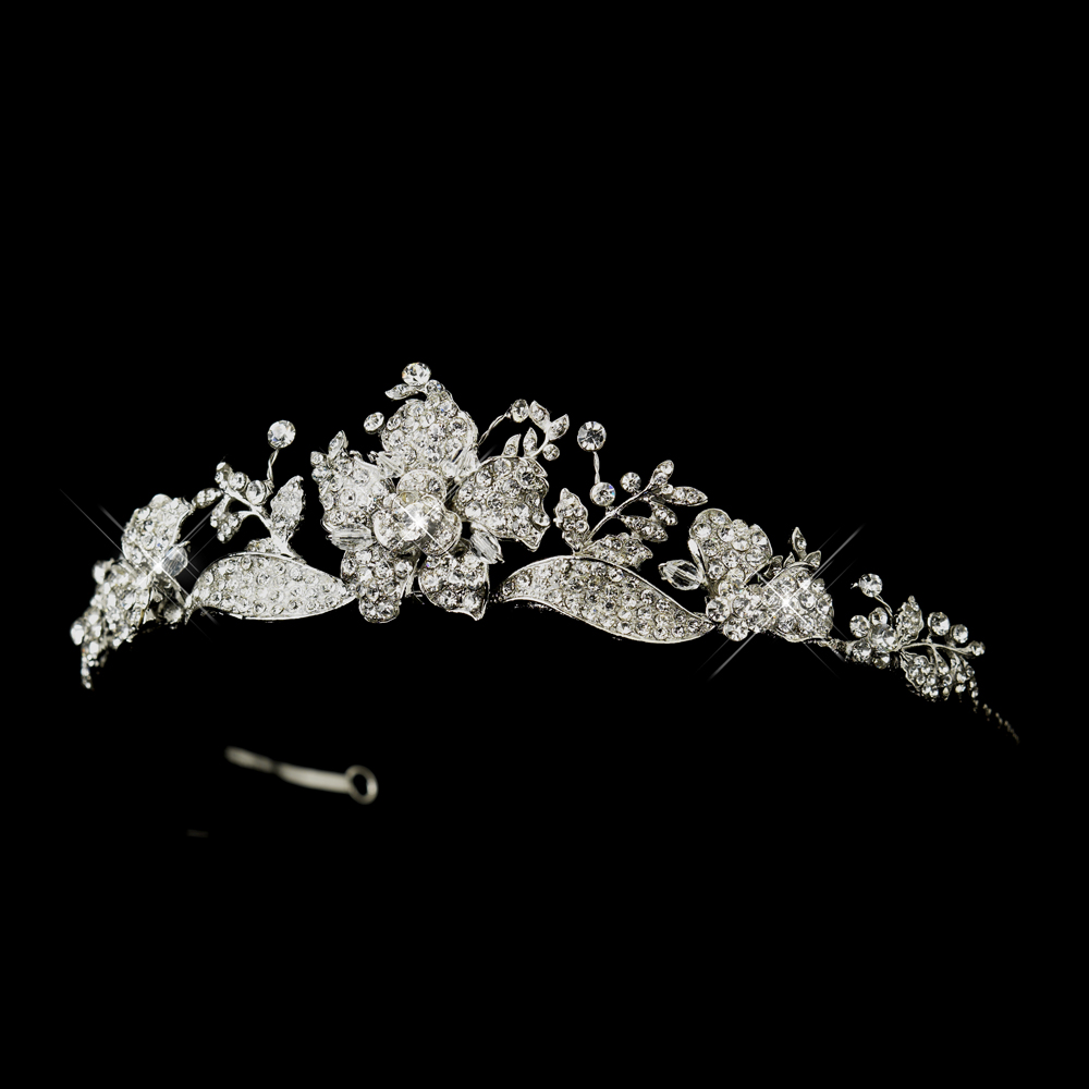 83989398dfab Radiant Rhinestone Rose Tiara Headpiece - Elegant Bridal Hair ...