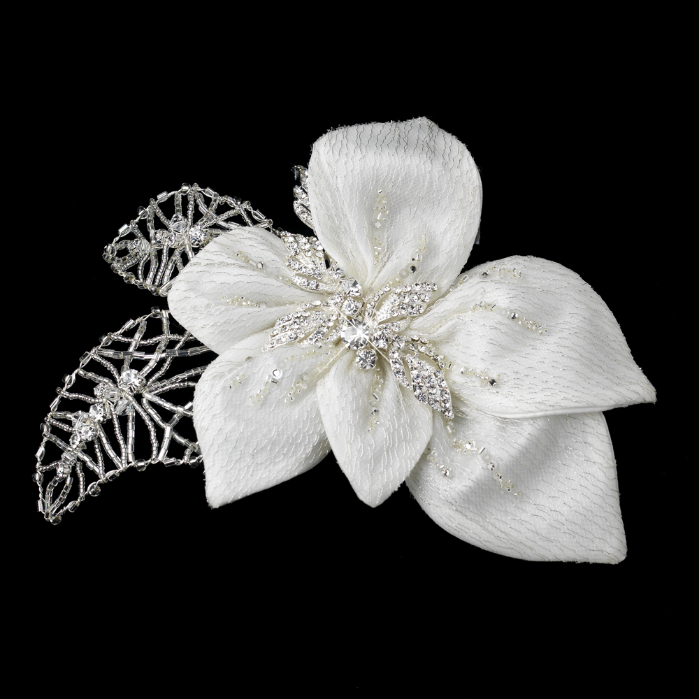 Ravishing Silver Ivory Bridal Flower Hair Clip Elegant Bridal