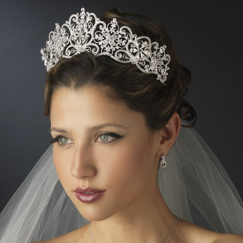Wedding Hairstyle Crown: Rhinestone Floral Royal Wedding Tiara