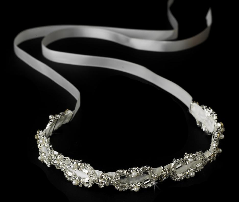 Rhinestone Pearl Ribbon Bridal Headpiece Elegant