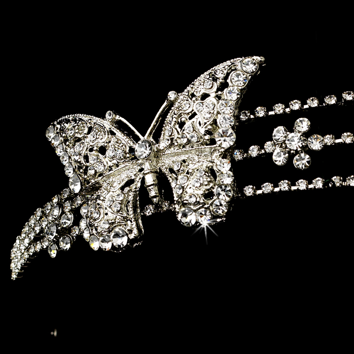 rhodium silver butterfly headband headpiece bridal hair