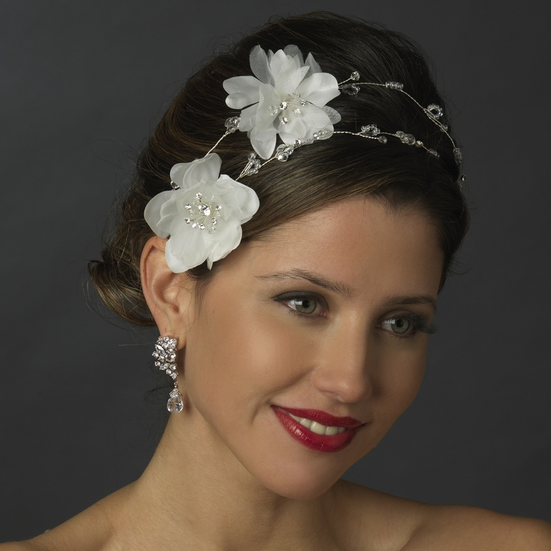 Flower Wedding Headpieces: Romantic Flower Rhinestone Bridal Headpiece