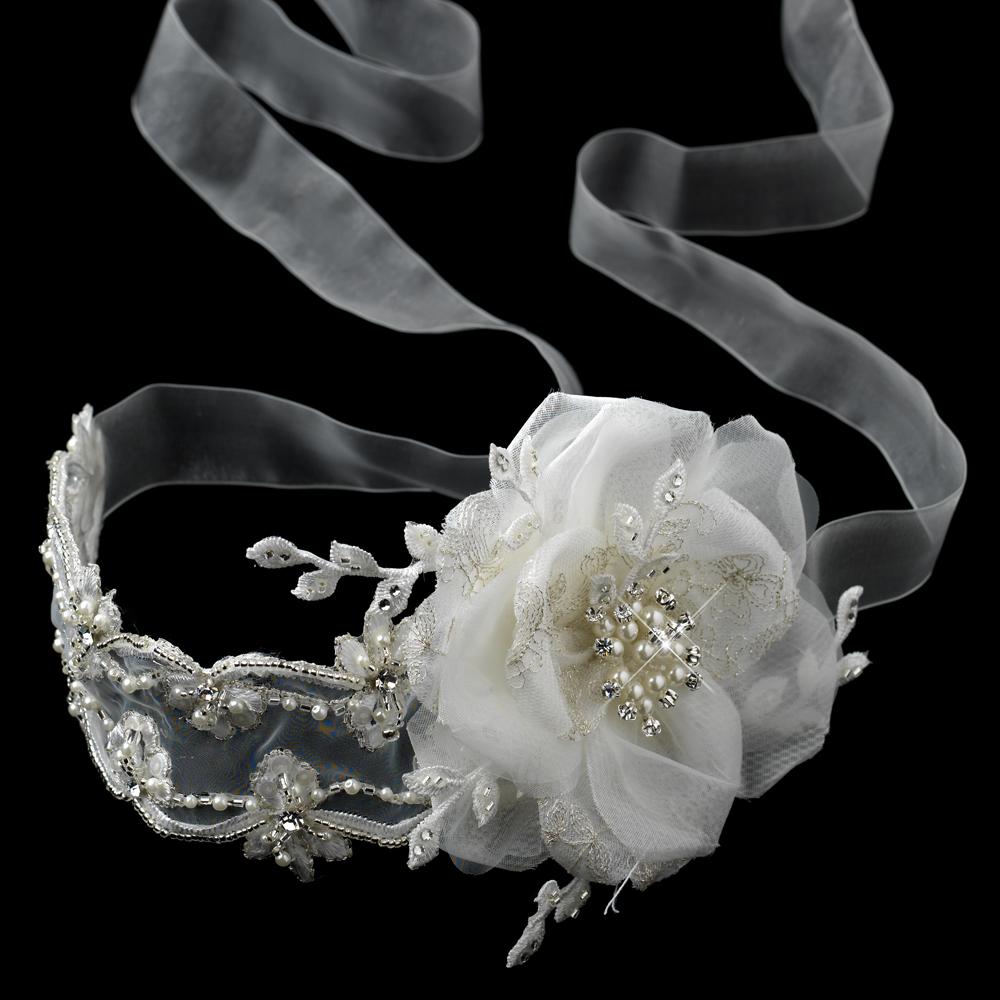 Romantic Ivory Ribbon Bridal Vintage Headbands Elegant