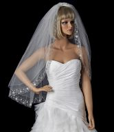 Sophisticated Silver Floral Embroidered Edge Wedding Veil