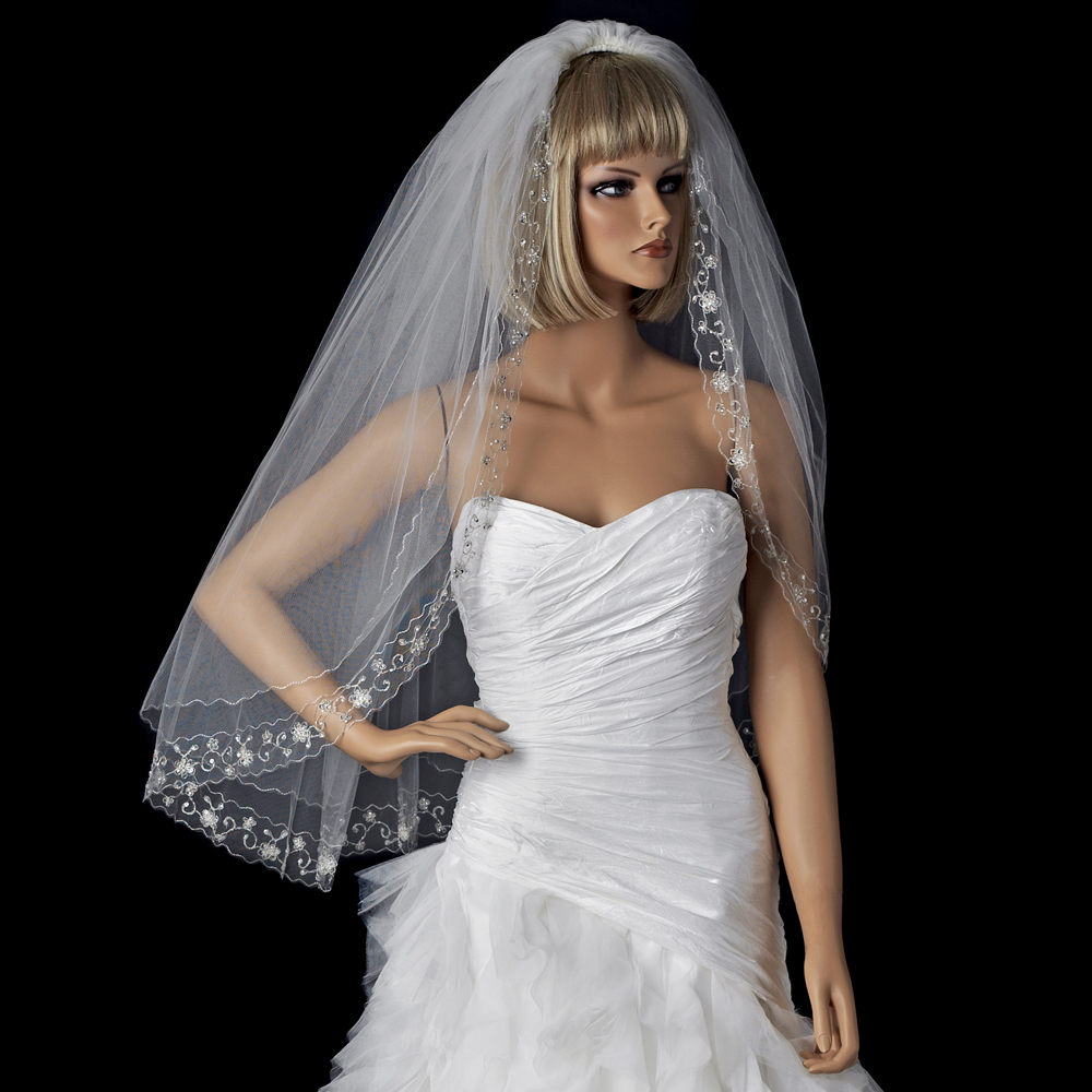 Wedding Hairstyles No Veil: Sophisticated Silver Floral Embroidered Edge Wedding Veil