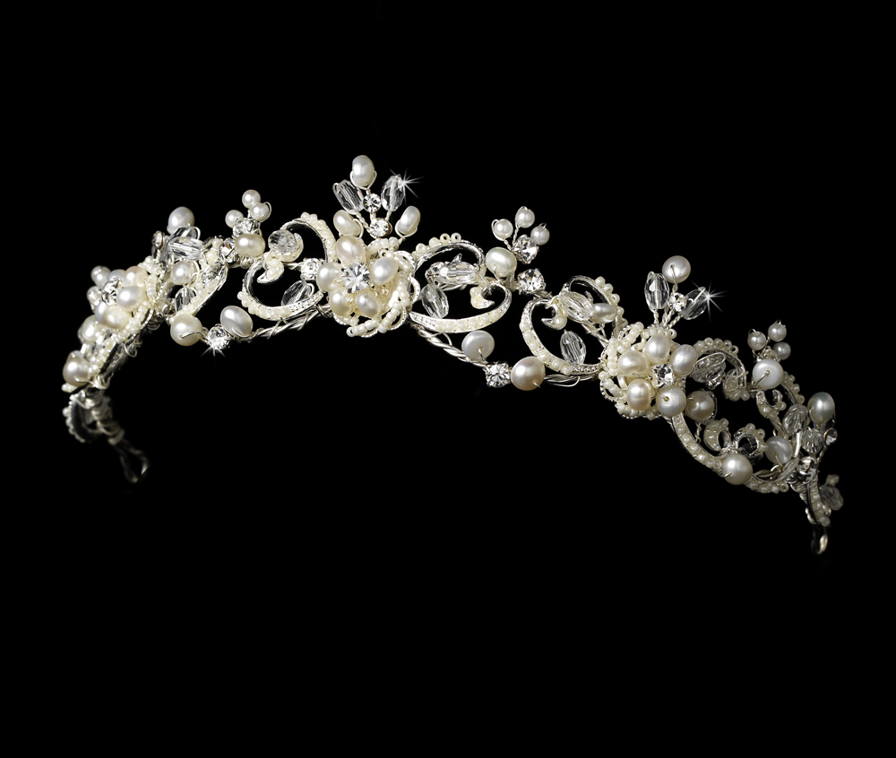 Hair accessories for wedding online india - Victorian Pearl Crystal Wedding Tiara