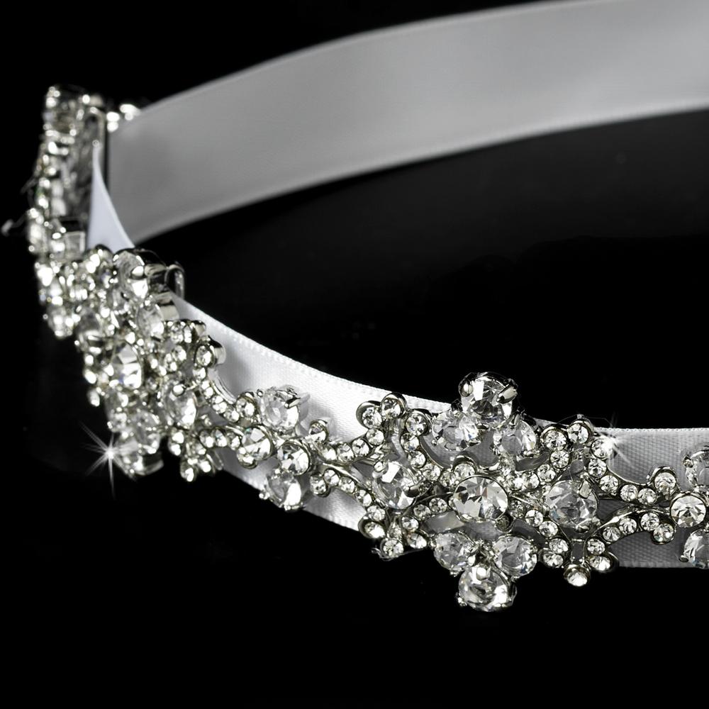 Vintage Crystal Bridal Ribbon Headband Elegant Bridal