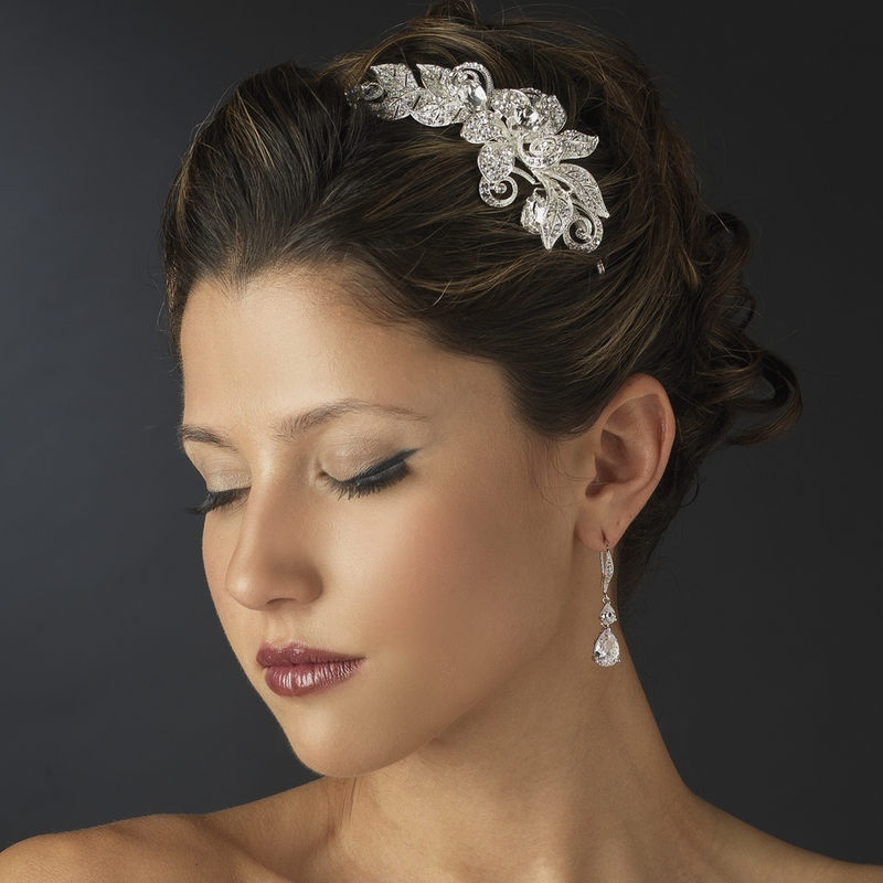Flower Wedding Headpieces: Rhinestone Floral Bridal Headband Headpiece