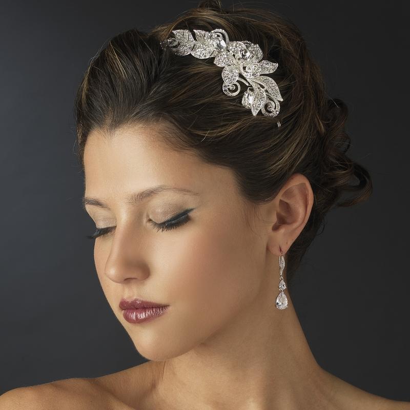 Rhinestone Floral Bridal Headband Headpiece - Elegant