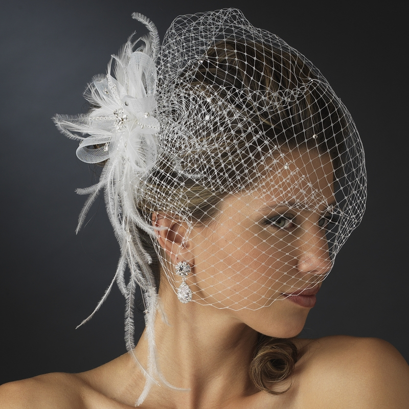 Jeweled couture feather fascinator veil elegant bridal hair jeweled couture feather fascinator veil junglespirit Image collections